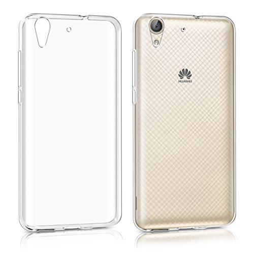 Price comparison product image kwmobile Crystal Case Cover for Huawei Y6 II made of TPU Silicone - transparent clear Protection Case in transparent