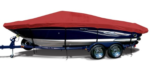 Correct Craft Super Air Nautique - Logo Red Exact Fit Boat Cover Fitting 2000-2001 Correct Craft Super Air Nautique W/tower (covers Platform) W/bow Cutout For Trailer Stop Models, 9.25 oz. Sunbrella Acrylic