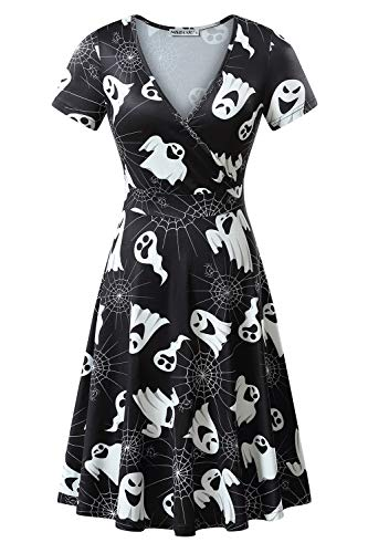 MSBASIC Halloween Theme Dress, Horror Dress Halloween Clothes for Women (Ghost, -