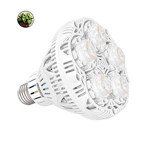 SANSI 24W LED Grow Light Bulb Full Spectrum Sunlight Plant Light White Plant Lights for Indoor Plants, E26 Grow Light Bulb for Hydroponics Greenhouse Houseplants Vegetable Tobacco, UV IR, 90 132V