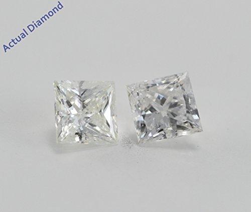 Boucles d'oreilles avec diamant Princesse White Gold-585/1000( 0.56 Ct, H-I Couleur, I1-I2 Clarté)