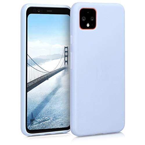 kwmobile TPU Silicone Case Compatible with Google Pixel 4 - Soft Flexible Protective Phone Cover - Light Blue Matte
