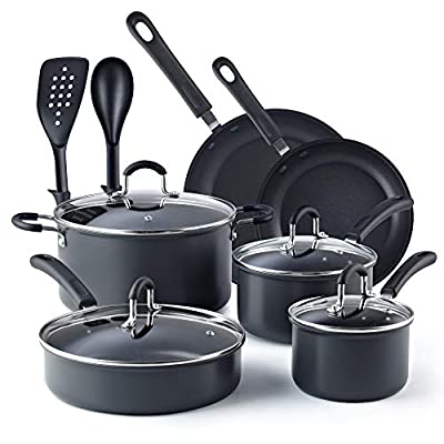 Cook N Home 02597 Nonstick Hard Anodized Cookware Set, 12-Piece, Black