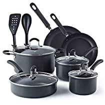 Cook N Home 02597, Black 12-Piece Nonstick Hard Anodized Cookware Set