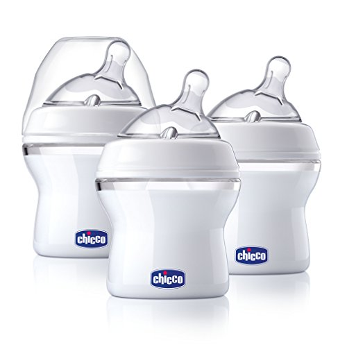 Chicco NaturalFit 3 Pack Baby Bottles Slow Flow with Bonus Straight Nipple, 0 Months +, 5 Ounce