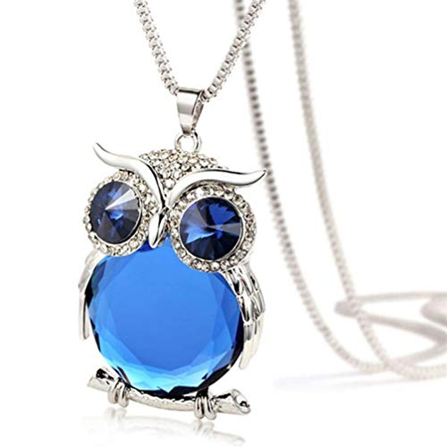 Myhouse Women Girls Crystal Owl Long Sweater Chain Necklace Charm Accessories,Color 1