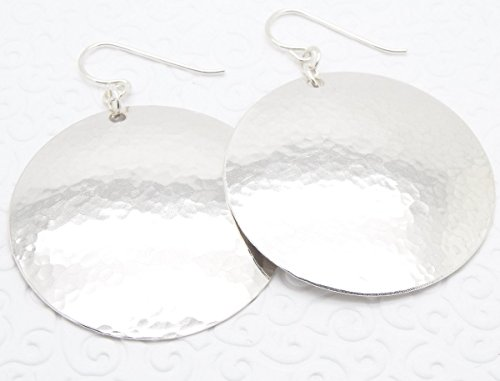 Extra Large Sterling Silver Hammered Disc Earrings
