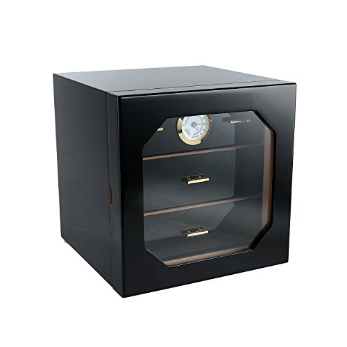 A Comely Medium Cigar Cabinet Humidor with Hygrometer and Humidifier,Spanish Cedar Wood Lined and 3 Layer Drawers,Tempered Glass Door,Decent Cigar Box Gift Set(Black Lacquer)