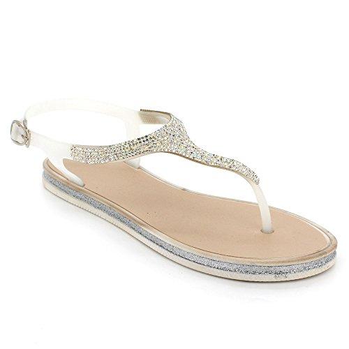Women Ladies Toe Post Evening Casual Flat Diamante Soft Summer Lightweight Slipper Slingback Sandals Shoes Size White 4JQXQKP2Hi