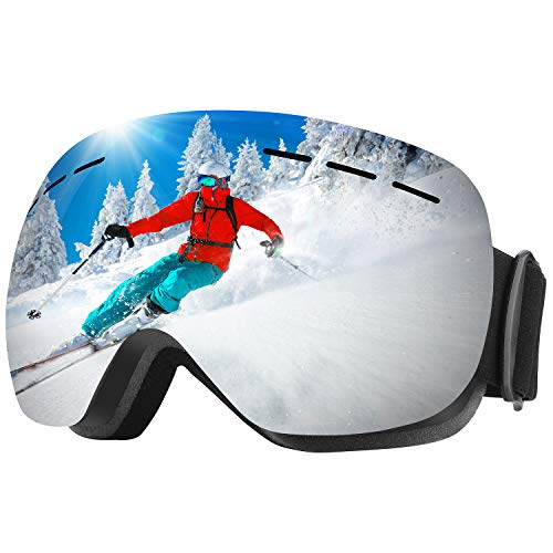 WELLVO Ski Goggles OTG Snowboard Goggles, Anti-Fog Dual Lens 100% UV Protection TPU Frame Snow Goggles for Men Women Youth, Helmet Compatible