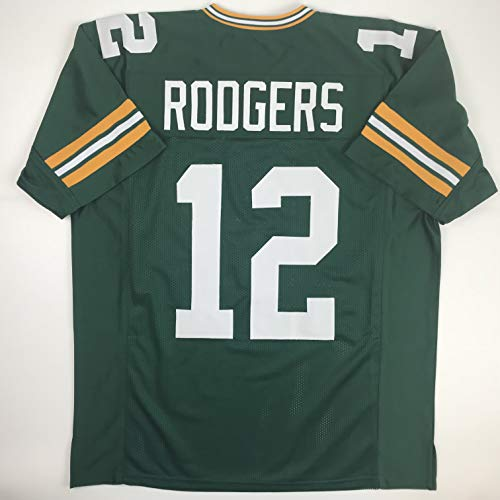 Unsigned Aaron Rodgers Green Bay Green Custom Stitched Football Jersey Size XL New No - Rodgers Jersey