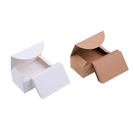 Syndecho 200 Pcs Vierges En Papier Kraft Cartes De Visite Word Carte Message DIY Cadeau