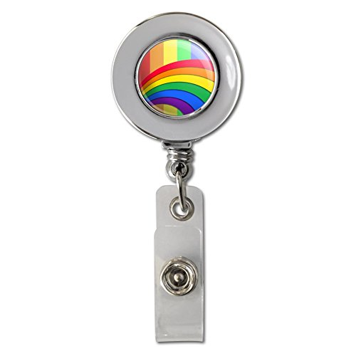 Double Rainbow Pride Arc Retractable Reel Chrome Badge ID Card Holder - Double Reel Badge