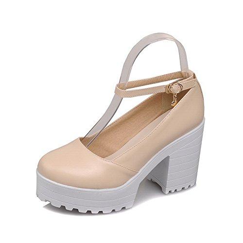 BalaMasa Ladies Chunky Heels Platform Metal Buckles Platform Heels Urethane Pumps Shoes B072MFPSM8 Shoes 95e09b