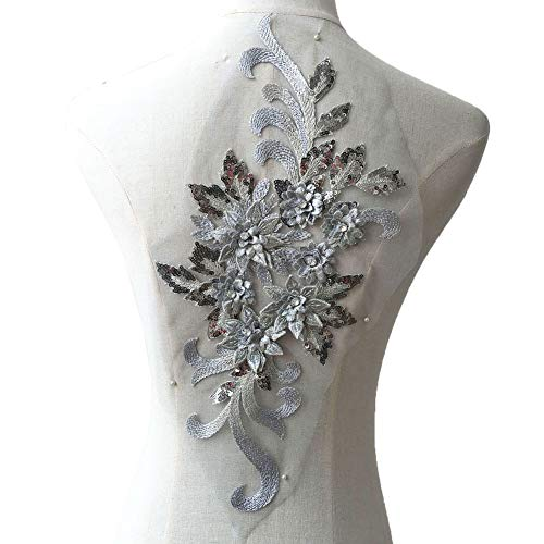 Silver Grey Crystal Flower Applique Embroideried Floral Sequins Details Motif for Ballet Dance Costumes Prom Dress Evening Gown