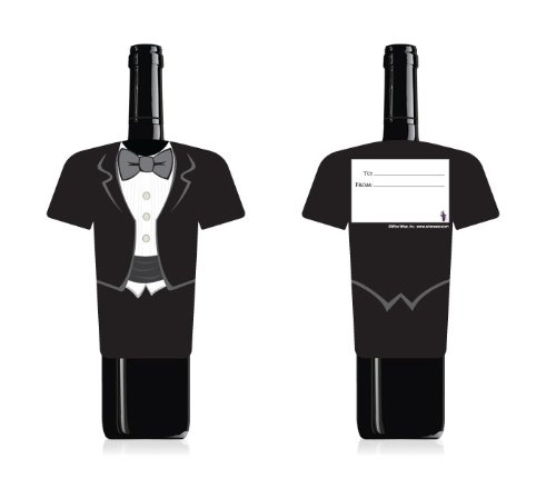- Fun Wine Bottle Cover by Wine Wear [Tuxedo] - Wine card for gifting wine for a special occasion or wedding