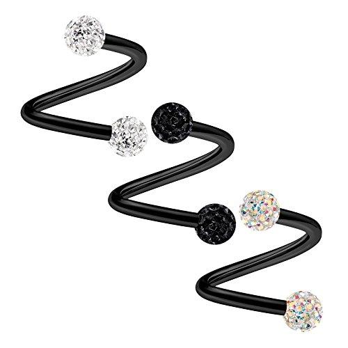 Black Twisted Barbell - 3PCS Surgical Steel Spiral Barbell 16 gauge 5/16 8mm 3mm Jet Crystal Snake Bite Nose Earrings Labret Piercing Jewelry 2330