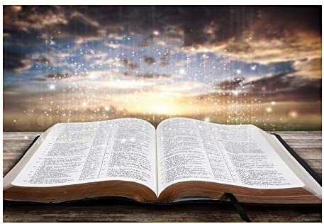 10x8ft Jesus Christ Backdrop Vinyl Light of Wisdom Emit from The Opened Bible Book Bokeh Sunset Glow Photography Background Church Sanctuary Banner Bible School Decoration Wallpaper