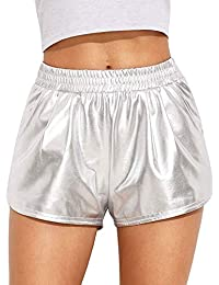 Women's Metallic Shorts Shiny Pants Yoga Sparkly Hot Drawstring Outfit Elastic Waist Rave Booty Dance