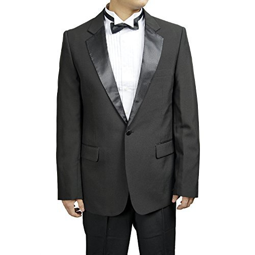 Classic Notch Collar Tuxedo Jacket By Broadway Tuaxmakers (39R) (Mens Black Tuxedo Jacket)