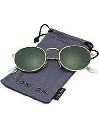 Classic Metal Frame Round Circle Mirrored Sunglasses Men...