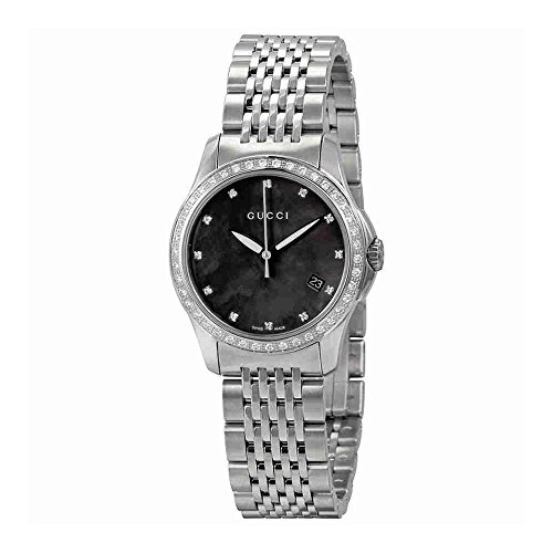 Gucci 126 G-Timeless Black Mother of Pearl Diamond Ladies Watch YA126509