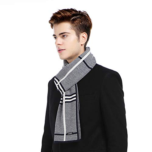 CACUSS Men's Cashmere Feel Winter Wool Scarf Soft Warm Striped Knitted Scarves with Gift Box (Navy)