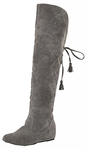 XiuHong Shop Big Size 3-7.5 Snow Boots Warm Winter Fur Flat Shoes Fashion Women's Knee Boots Over The Knee Boots Gray