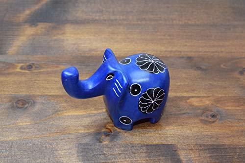 (Soapstone African Elephant, Figurine Sculpture Handmade in Kenya~2'' Height x 3'' Long, Cobalt Blue, SS1 )