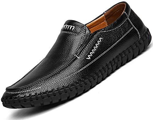 TSIODFO Men's Dress Shoes Slip on Loafers Flats Moccasins Driving Shoes Black Size 8.5 (999-black-42)