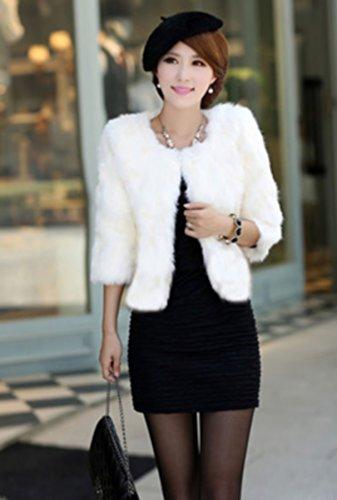 Manche Lapin Fourrure Veste S Blanc Galia Mi longue Femme Taille Court En Lapin wTwtvAqU