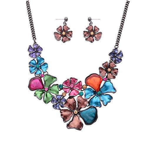 Fenni Vintage Colorful Enamel Rhinestone Five Petal Flower Choker Bib Necklace Stud Earrings Set for Women ()