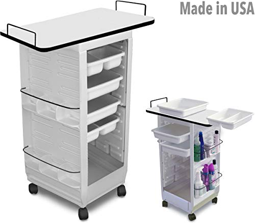 C113E-LT M Medical, Physician, Dentist Utility Roll-About Roller Cart Trolley Non Lockable White w/Laminated Top Made in USA by Dina Meri
