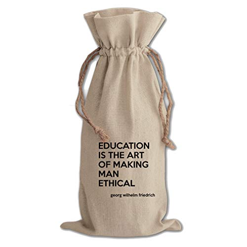 - Ethical (Georg Wilhelm Hegel) Cotton Canvas Wine Bag, Cotton Drawstring
