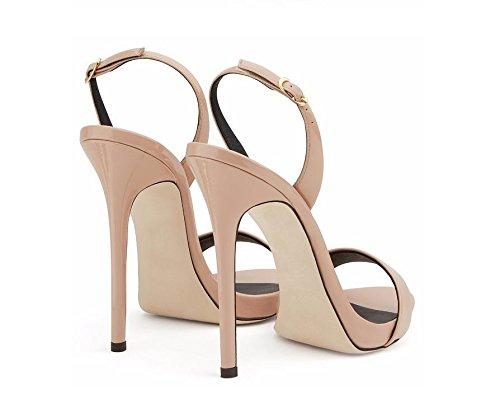 MZG Tacones altos de las mujeres del dedo del pie abierto del tobillo del estilete plataforma de la correa casual sandalias de las bombas apricot