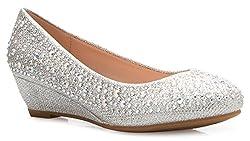 Close Round Toe Glitter Rhinestone Comfort Wedge