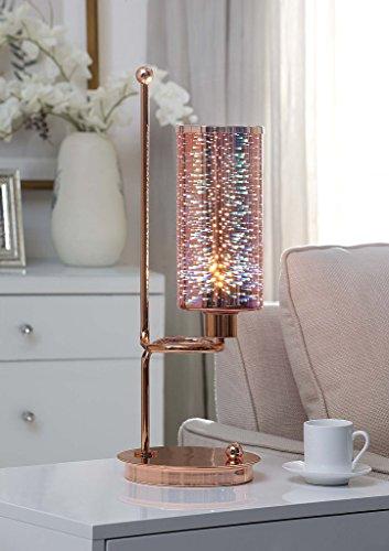 Major-Q 9040132 - Lámpara de mesa con LED, acabado en oro rosa y metal, estilo contemporáneo, 55,88 cm de al