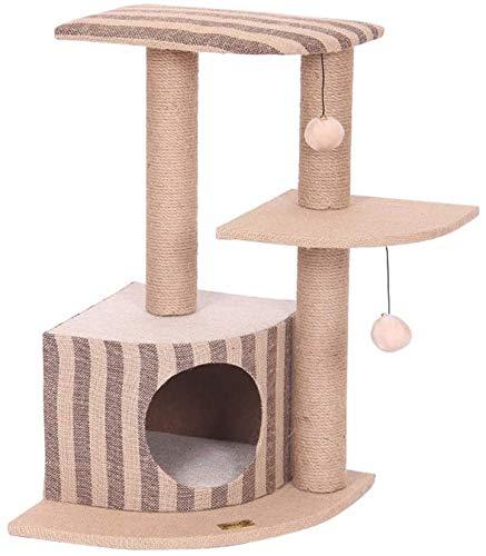 FTFDTMY Dreischichtiger Katzenkletterrahmen, Kratzbaum-Katzenhaus Einteiliges Katzenkratzbrett-Dreieck Massivholz…