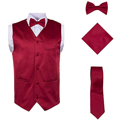 (Vittorino Mens 4 Piece Formal Vest Set Combo with Tuxedo Vest Tie Bow Tie and Handkerchief, Burgundy, Large)