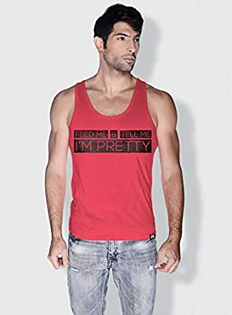 Creo Feed Me And Tell Me Funny Tanks Tops For Men - M, Pink