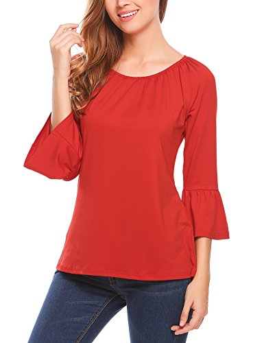 Red 3/4 Sleeve Top - 2