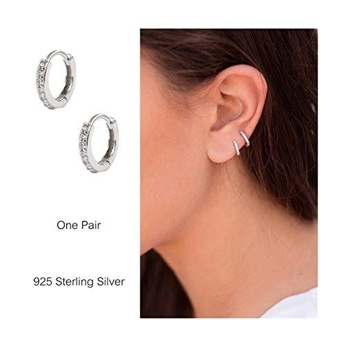 dc680f166 925 Sterling Silver Small Hoop Earrings Cubic Zirconia Cartilage Earring  Earing Piercing Earrings Ear Cuff Huggie