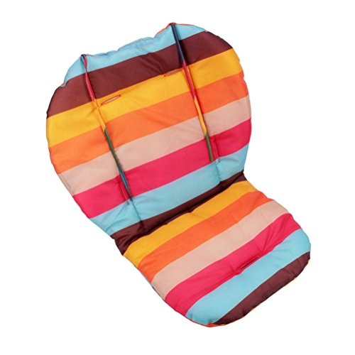Baby High Chair Cushion (Twoworld Baby Stroller / Car / High Chair Seat Cushion Liner Mat Pad Cover Protector Rainbow Striped Breathable Water Resistant)