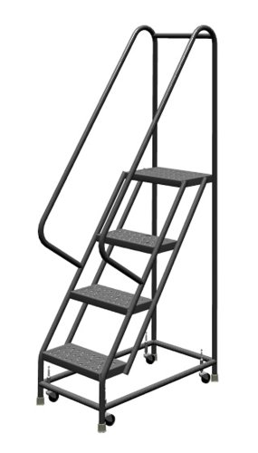 Step Rolling Safety Ladder - Tri-Arc KDSR104166 4-Step Steel Rolling Industrial and Warehouse Ladder with Handrails and 16