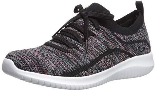 Skechers Women's Ultra Flex-Statements Sneaker, Black/Multi, 7.5 M US