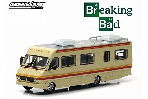 Greenlight Breaking Bad 1986 Fleetwood Bounder RV, Tan with Stripes 33021/48 - 1/64 Scale Diecast Model Toy -