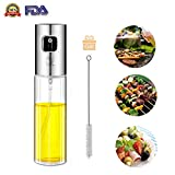 Olive Oil Sprayer, Transparent Food-grade Glass Oil Spray Portable Spray Bottle Vinegar Bottle Oil Dispenser for for BBQ Making Salard Cooking Baking Roasting Grilling Frying Kitchen Stainless Steel