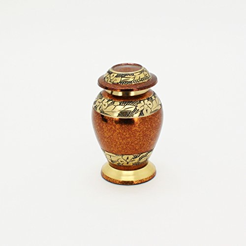 Keepsake Cremation Urn for Human or Pet Ashes – Funeral Urn is Handmade in Brass, Handcrafted. Fits a Small Amount of Cremated Remains Ashes of Adults Pets – By ABI Gift D cor.