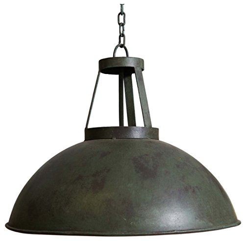 Biscottini Industrial Iron Made Antiqued Green Finish W46xDP46xH40 cm Sized Non Electrified Suspended Chandelier