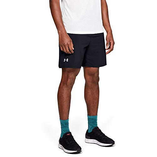 (Under Armour Launch SW 7'' Shorts, Black//Reflective, Large)